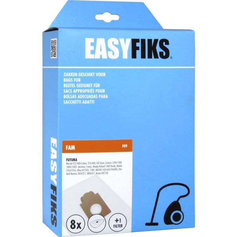 Easyfiks F09 - Stofzuigerzakken - Geschikt voor FAM Futura, Ecoline TCS1400 - 8 stuks - image #1