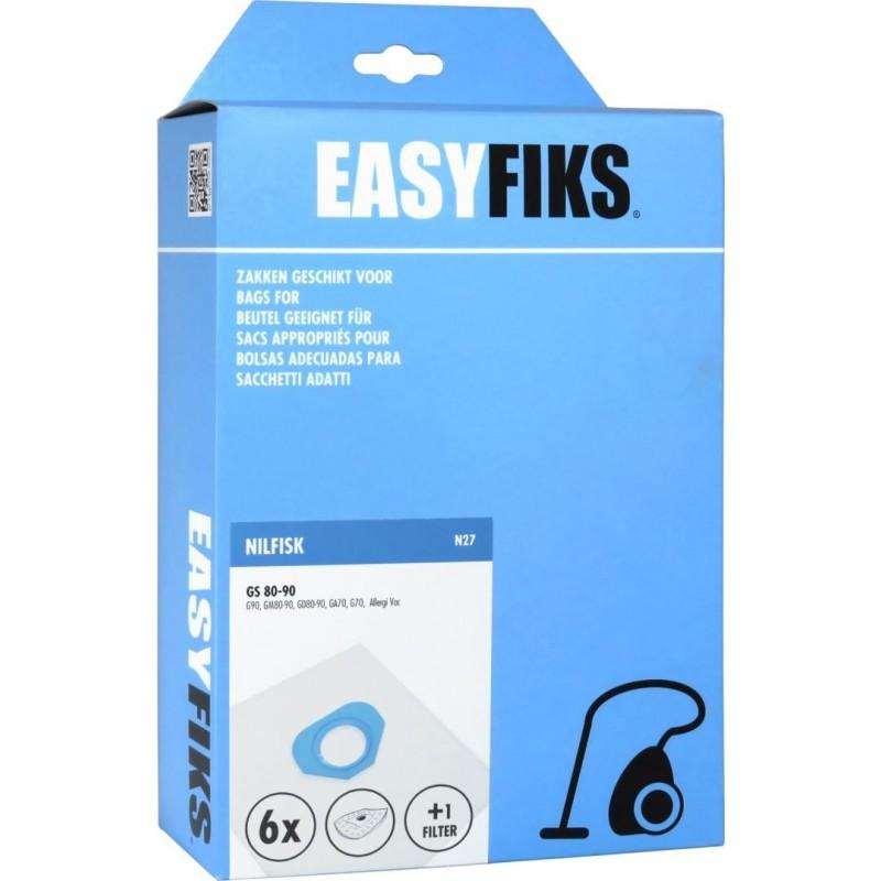 Easyfiks N27 - Stofzuigerzakken - Geschikt voor Nilfisk GS80, GM80, GS90 GM 90, GA70 - 6 stuks - image #1