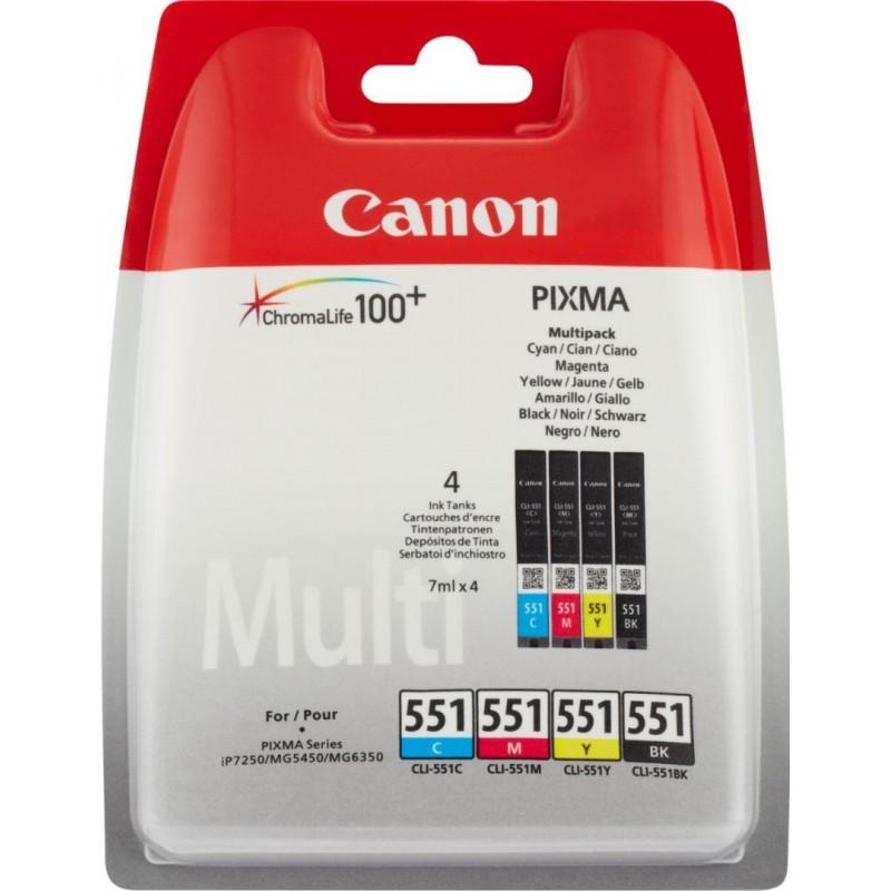 Canon CLI-551 Inktcartridge - Combipack - Zwart, cyaan, magenta, geel - image #1