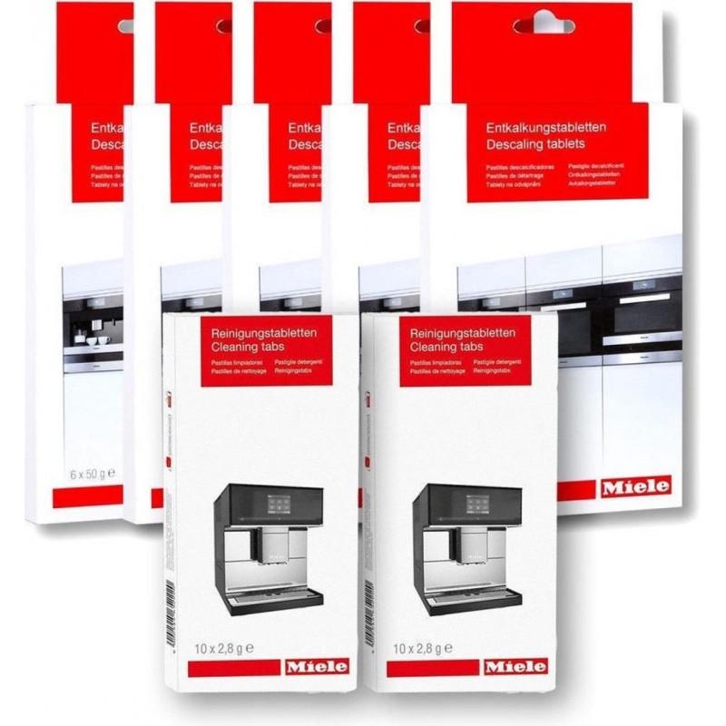 5x 6 Miele Ontkalkingstabletten en 2x 10 Reinigingstabletten - Onderhoudsset - image #1