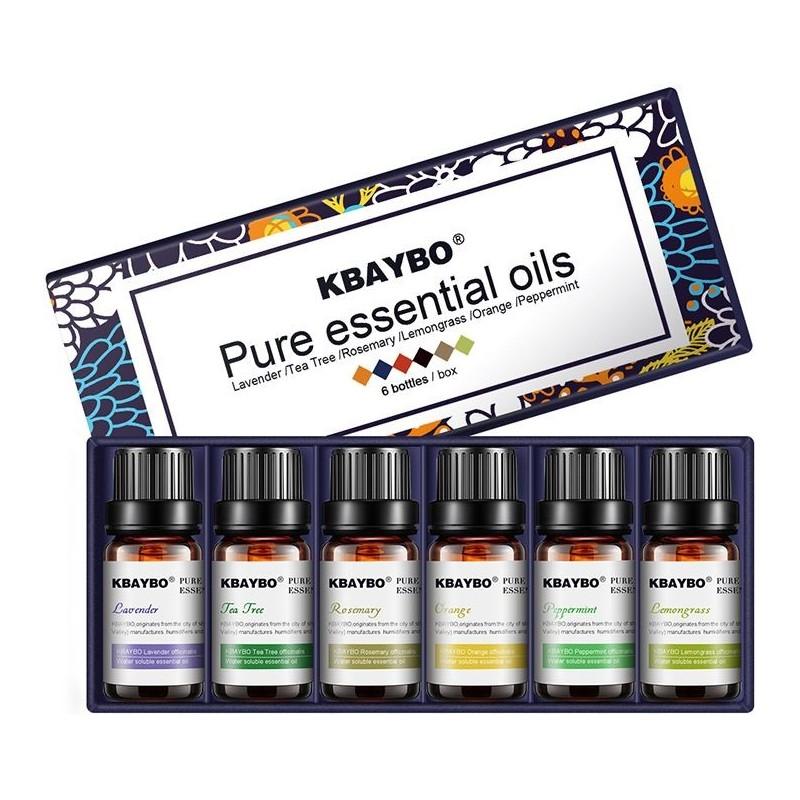 KbayBo Etherische Olie Pakket - 6 Heerlijke Geuren - voor Luchtbevochtigers en Aromadiffusers - image #1