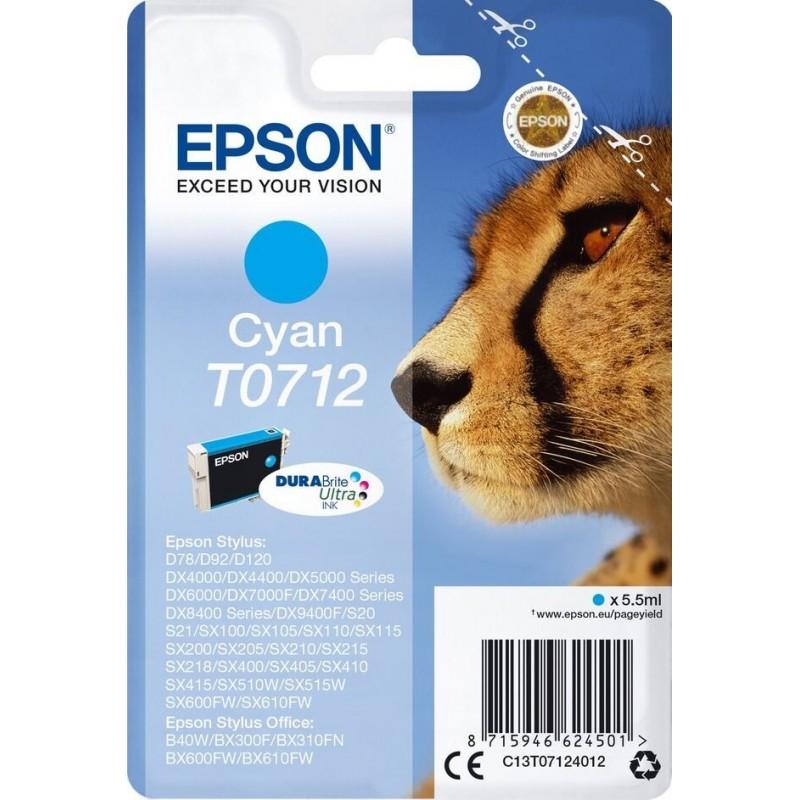 Epson T0712 Inktcartridge - Cyaan - image #1