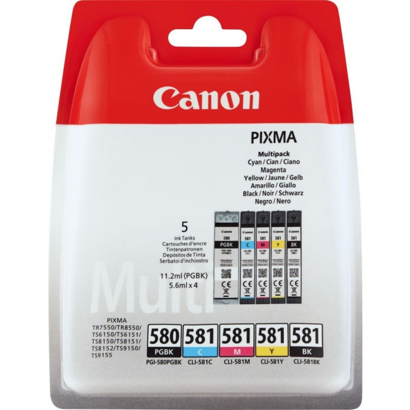 Canon PGI-580PGBK, CLI-581 Inktcartridge - Combipack - 2x Zwart, cyaan, magenta, geel - image #1