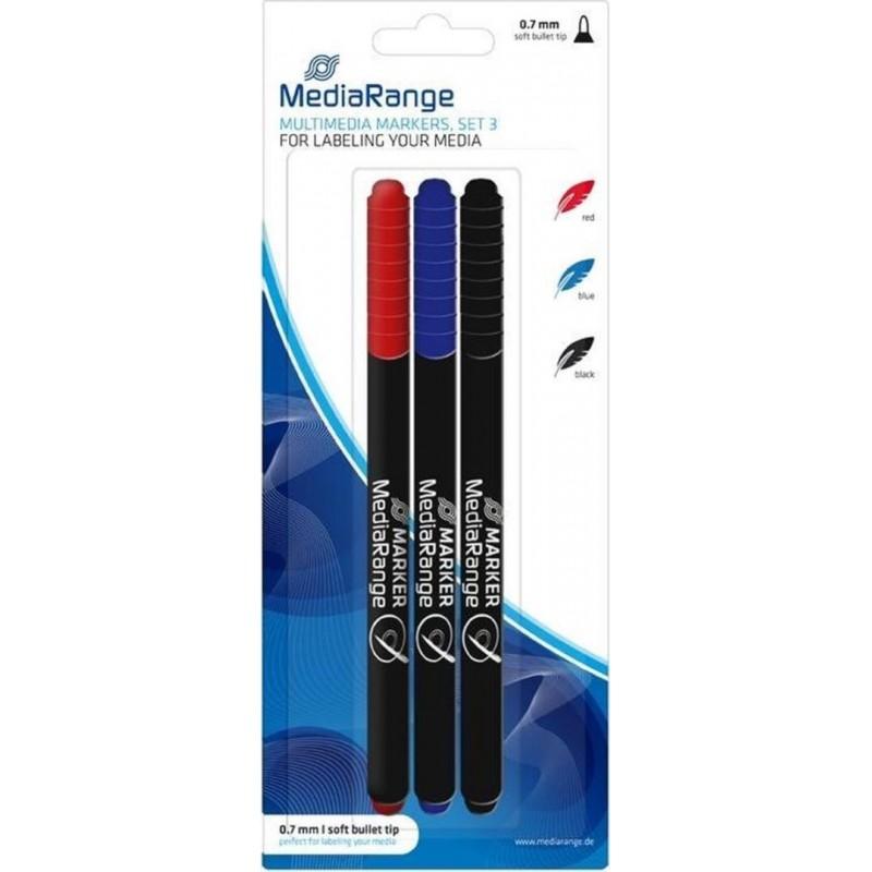 MediaRange CD/DVD/BD Marker - 3 stuks - Rood, blauw, zwart - image #1