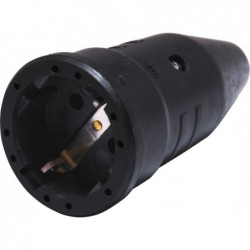 Contra stekker rubber met randaarde - zwart - image #1