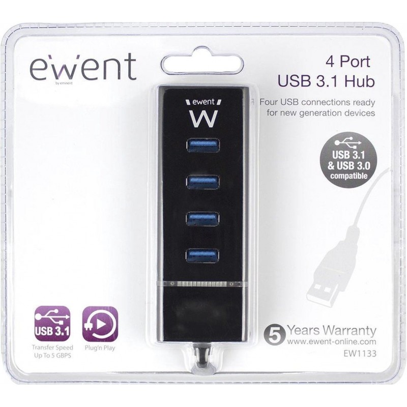 Ewent USB hub met 4 poorten - USB3.1 - image #1