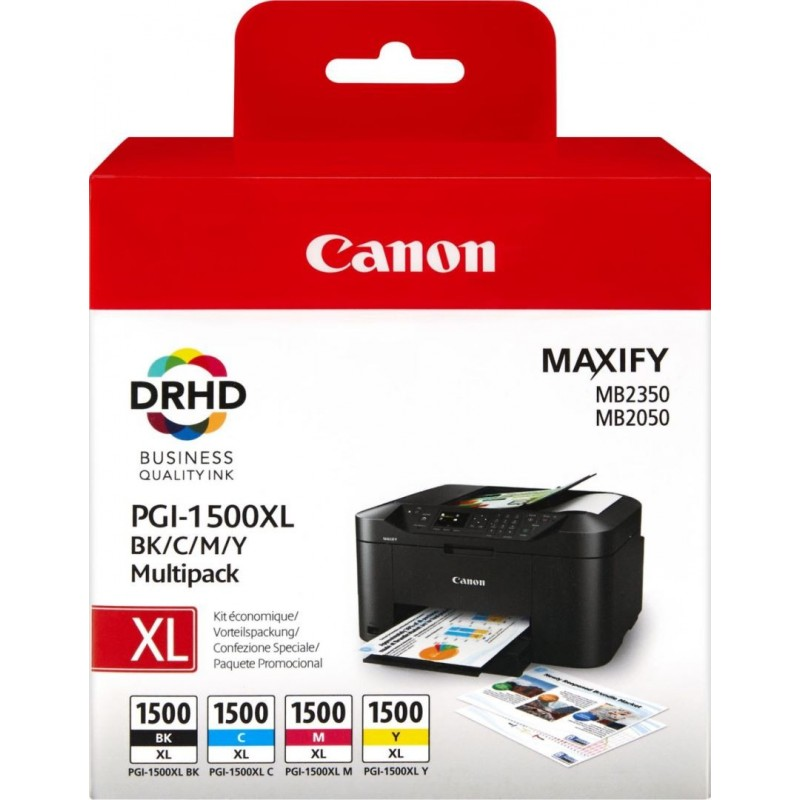 Canon PGI-1500 XL Inktcartridge - Combipack - Zwart, cyaan, magenta, geel - image #1